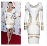 2015 New Fall Fashion Star Long Sleeve Bronzing Self-cultivation Straight Cylinder Temperament Backing Plus Size Dress XS-XXL