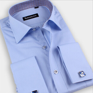 New Arrival~ Fashion French Men's Long Sleeve Slim Business Solid Shirt Slim Dress Shirt 6 Colors 1pc/lot(China (Mainland))
