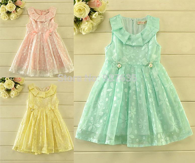 2015 Summer Girl Dress Ruffles Collar Princess Clothes Children Clothing 5pcs/lot(China (Mainland))