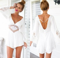 macacao feminino 2015 jumpsuit women white lace culottes rompers womens jumpsuit overalls playsuit mono mujer bodycon jumpsuit