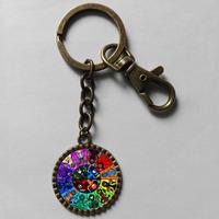 Wholesale 6$ Homestuck Keyring  God Mandala Key Chain Art Glass Pendant cosplay Cute Keychain Gift lot Fashion