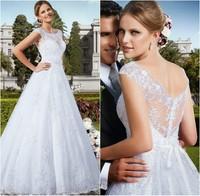 Custom Made Vestido de Noiva 2014 A-Line See Through Back Vestido de Casamento Sexy Wedding Dresses Long Train Bridal Gown