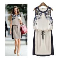 Fat Lady Summer 2015 New Plus Size Women High-end Printing Sleeveless Significantly Thin Band Waist Chiffon Dress S-xxl