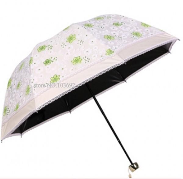 Women embroidery rain/sunny umbrella anti-uv sun protection umbrellas ladies flower lace parasol girls folding umbrella(China (Mainland))