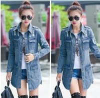 women Fashion frayed denim jacket and long sections sleeved denim jacket coat