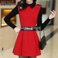 2015 spring sweet basic one-piece dress set skirt elegant gentlewomen elegant women's winter