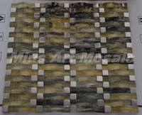 [Mius Art Mosaic] Yellow & black wave crystal glass mosaic tile  kitchen backsplash  tilie D2012