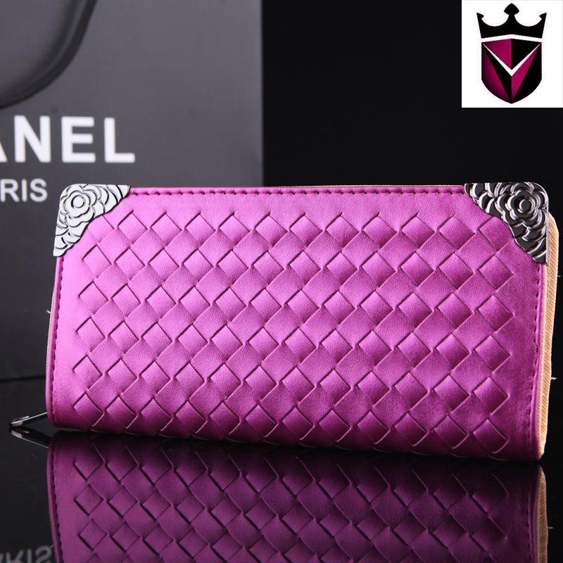 De alta qualidade colorido Pu mulheres de couro longo carteira de embreagem tecido bolsas moda bolsa livre Shiping(China (Mainland))