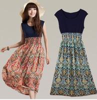 Free Shipping Cheap Bohemian Fashion Style Vintage Print Chiffon Patchwork Long Dress Women Summer Wear Hot Selling Clothes A82