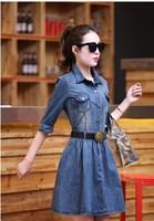 2015 spring new Women Korean long-sleeved vintage denim dress commuter sleeve denim