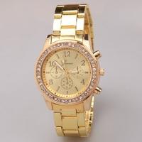 Free shipping! Latest fashion luxury alloy quartz watch women, Trendy casual crystal wrist watch