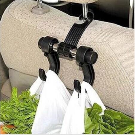 2Pcs/Lot Utility Convenient Double Vehicle Hangers Auto Car Seat Headrest Bag Hook(China (Mainland))