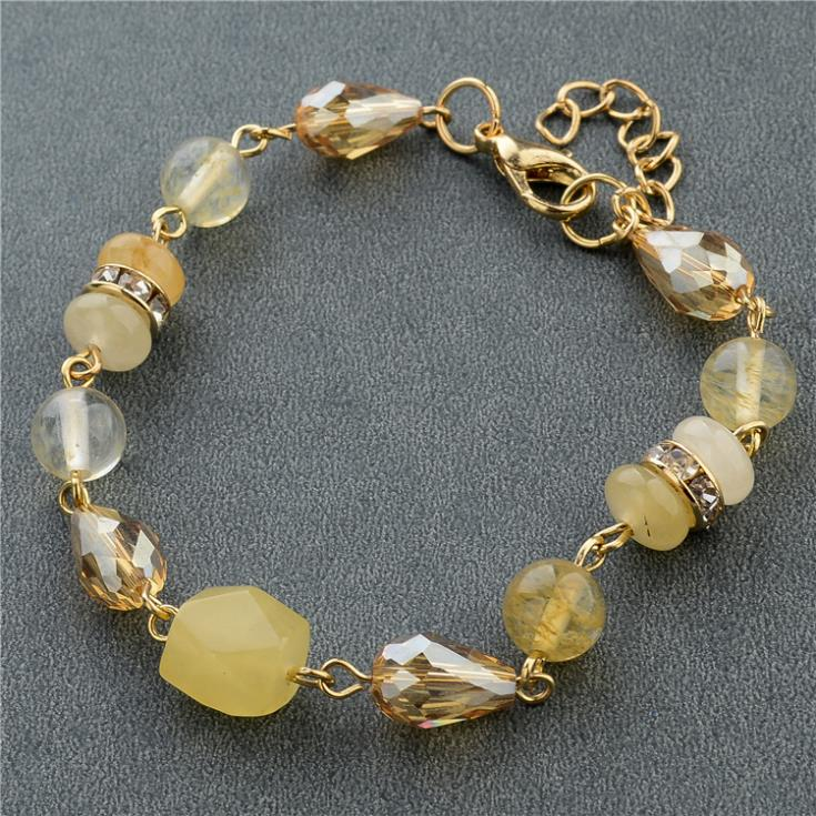 New Fashion Jewelry Gold Plated Chain Female Bracelets Acrylic Yellow Crystal Beads Bracelets For Best Friends SBR140610(China (Mainland))