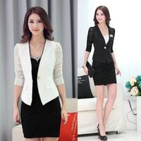 Spring Autumn Fashion Women Work Wear Suits with Skirt and Jacket Sets White Blazer Female Slim Ladies Office Uniform Styles
