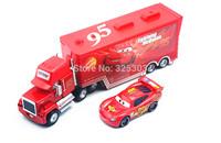 PIXAR CARS 2 -100% Original Mack truck + Mcqueenes Loose Rare Diecast 1:55 kids toys alloy metal car model Loose In Stock