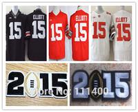 2015 Bcs Patch NCAA Diamond Quest Ohio State Buckeyes 15 Ezekiel Elliott Red white black Embroidery logo Mens size S-XXL