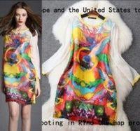 Free shipping 2015 spring and summer fashion silk organza print loose cute dress t2828 casual dress wholesale va2039