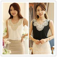 2015 White Chiffon Sleeveless Vest Folds Casual Kimono Women Blouses Clothing Plus Size Lace Crochet Shirts XXXL