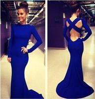 vestido de festa longo 2015 Fashion Black Long Party Dresses Long Sleeve Open Back Cross Elegant Mermaid Formal Prom Dress 185