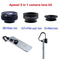 Apexel 20set/lot wholesale camera kit lens 3 in 1 180 fisheye lens + 0.67x Wide Angle&Macro Lens for iPhone/Samsung APL-FCFWM