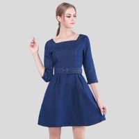 2015 new spring women's slim waist denim dress slash neck high waist expansion bottom long-sleeve simple casual dress