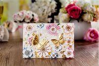 NEW ARRIVALS 50pcs/lot Customized Invitation Cards 2015 Flower Design Wedding Invitations Free Design/Envelope Size185*128mm
