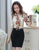 New 2015 Spring Korean Style Fashion Vintage Print Collar Long Sleeve Chiffon Blouse Womens Tops Ladies Office Shirts
