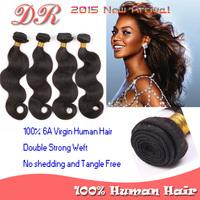 6A Grade 100% Virgin Human Hair Products Brazilian Virgin Hair Body Wave Hair Weave Bundles 4 pcs lot 100g/bundles Natural Color
