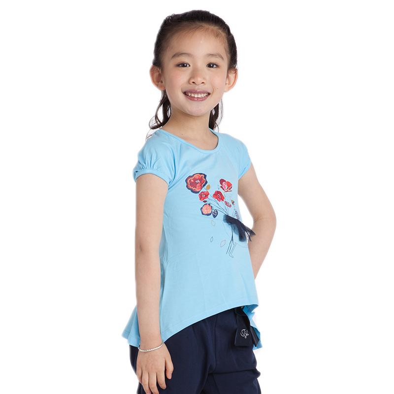 jjlkids news girls shorts summer tops kids chinese styles flowers printing kids t shirts size 4-11 years(China (Mainland))
