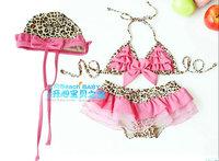 Leopard Bikini Top&Bottom w/Hat Beachdress Girls Swimsuit Kids Swimwear 1-7 Year for free shipping and drop shipping