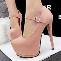 free shipping fashion ultra high heels pumps platform shallow mouth single shoes velvet belt high-heeled shoes