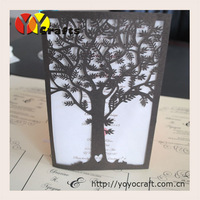 """INC106--- Party supplies """"tree"""" shape invitations wedding cards tree laser cut wholesale"""