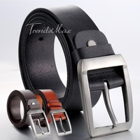 38mm Mens Boys Ochre Orange Black Coffee Genuine Leather Waist Belt Single Prong Metal Buckle Business Casual Dress Gift UTM79