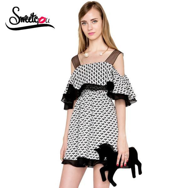 Sweetyou 2015 Sexy Off Shoulder Slash Neck Women Summer Dress Cartoon Animal Printed Casual Dress Sweet Draped Ruffles Vestidos(China (Mainland))