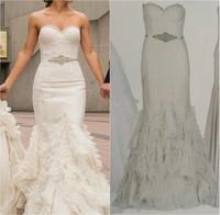 Real Made Vintage Mermaid Wedding Dress 2015 Vestido de Noiva Ruffles Robe de Mariage Custom Made Top Quality Wedding Dresses
