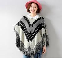 Women Batwing Geometric Plaid Cloak Sweater Tassels Plus Size Striped Printed Poncho Cape Wrap Tops Pullover Knit Sweater Coat