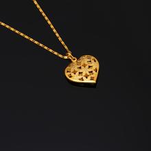 24K Gold Plated Luxury Pendant Necklace Link Chain Trendy Cute Fashion Romantic Heart Flower Women Girl