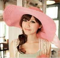 2015 Summer Women's Colorful Wide Large Brim Beach Sun Hat Straw Beach Cap For Ladies Elegant Hats Girls Vacation Tour Hat