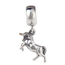 Free Shipping 1pc 100% 925 Sterling Silver fits pandora Bead Unicorn Pendant Fit Biagi Bracelet SS2767