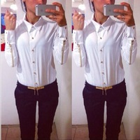 new fashion autumn blouse made fashion blouses with zipper at sleeve for women 2014 blusas