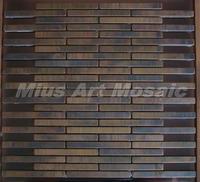 [Mius Art Mosaic] Strip Copper tile in bronze brushed for kitchen backsplash wall tile E9T6022