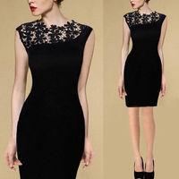 Womens Lace Stitching Dress Party Dress Summer Sleeveless Black Dress Casaul dress