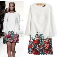 2015 Women Spring Autumn Winter Dress Vintage Printing O-Neck Dresses Casual Long-Sleeve Vestidos