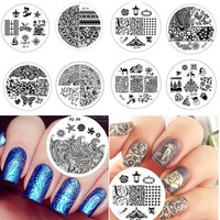 30pcs Optional 5.5cm JQ Series Round Nail Art Stamping Plate Stencil Print Stainless Steel Template DIY for Nails #JQ1-JQ30