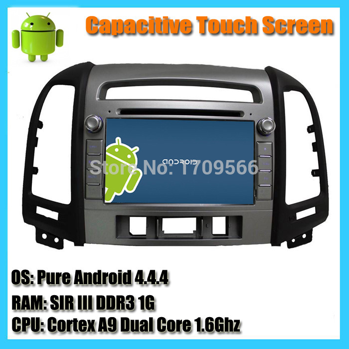 Available 3 and 4 hole Hyundai Santa Fe Android 4.4 Car DVD Player GPS Radio Navigation with 8inch Capacitive Touchscreen WIFI(China (Mainland))