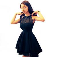 2015 summer Sping new women irregular mesh stitching Slim sleeveless chiffon dress sexy Party dress