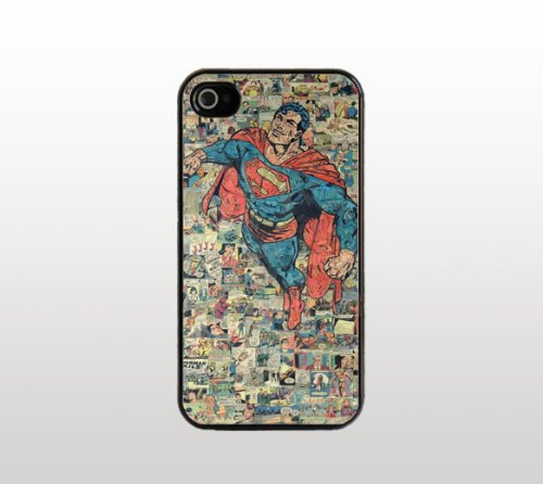 2015 Retro Superman Comic For iPhone 4 4s Case - Cool Black Plastic Snap-On Cover - Comic Book Design(China (Mainland))