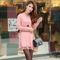 Women Korean Loose lace Hem long-sleeve Knitted Dress wedding party dress 2015 dress More Colors
