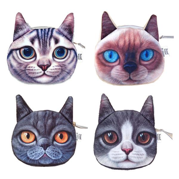 New Cute Cats Face Wallets Children Zipper Case Coin Purse Wallet Makeup Bag Pouch Women Clutch 2015 New Style 1pcs(China (Mainland))