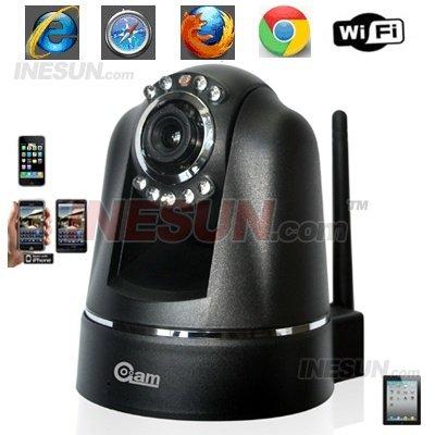 Cctv 1/5 CMOS 3.6 mm lens dia / noite Indoor Pan / Tilt rede IP sem fio da câmera de 1/5 CMOS sensor(China (Mainland))